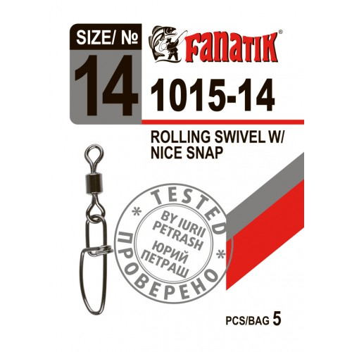 FANATIK Karabiner 1015 Angel Duo-Lock mit Wirbel Rolling Swivel with Snap 5 kg - 11 kg